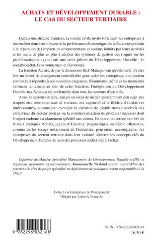 4eme Achats et développement durable : le cas du secteur tertiaire