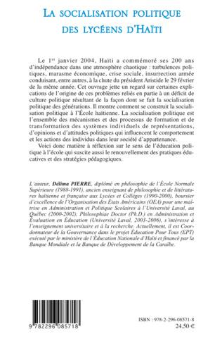 4eme La socialisation politique des lycéens d'Haïti