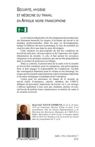 4eme Sécurité, hygiène et médecine du travail en Afrique noire francophone