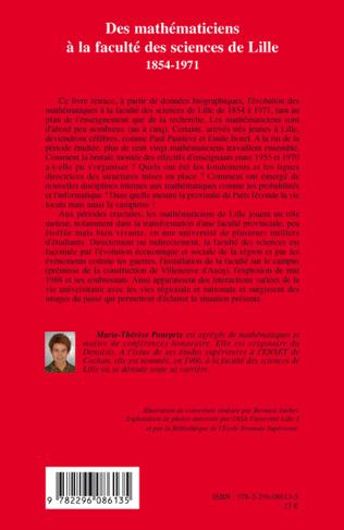 4eme Des mathématiciens à la faculté des sciences de Lille (1854-1971)