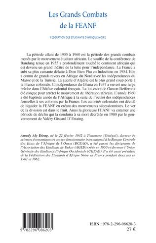 4eme Les Grands Combats de la FEANF (Fédération des Etudiants d'Afrique noire)