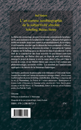 4eme L'ART COMME AUTOBIOGRAPHIE DE LA SUBJECTIVITE ABSOLUE, SCHELLING, BALZAC, HENRY