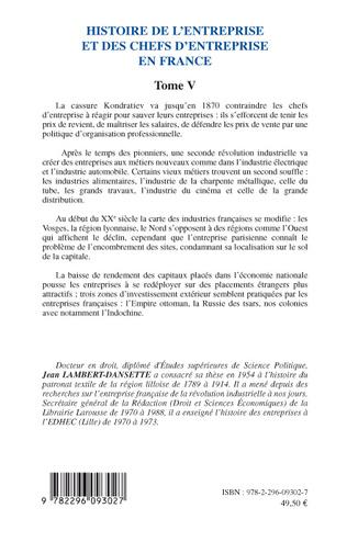4eme Histoire de l'entreprise et des chefs d'entreprise en France