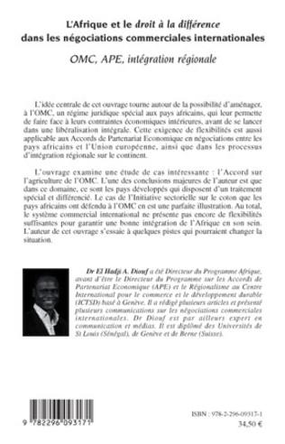 4eme L'Afrique et le droit à la différence dans les négociations commerciales internationales