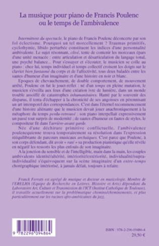 4eme La musique pour piano de Francis Poulenc ou le temps de l'ambivalence