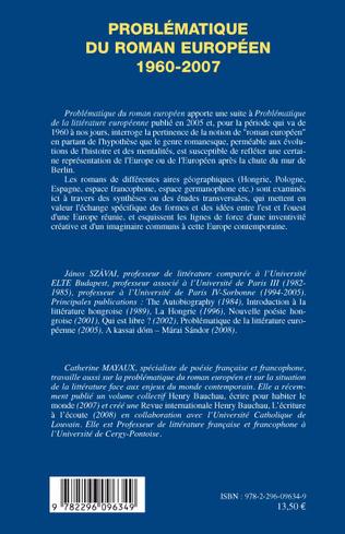 4eme Problématique du roman européen 1960- 2007