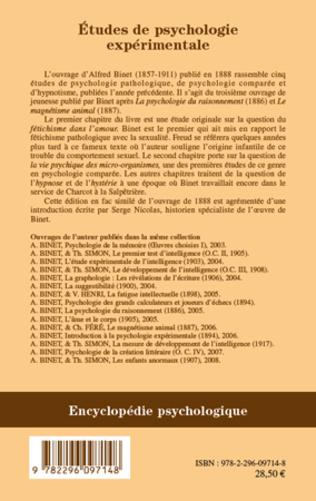 4eme Etudes de psychologie expérimentale
