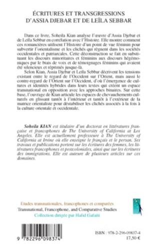 4eme Ecritures et transgressions d'Assia Djebar et de Leïla Sebbar