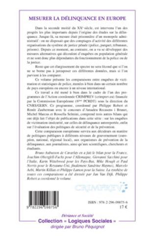 4eme COMPARAISON DE DONNÉES CRIMINOLOGIQUES DE SOURCES DIFFÉRENTES: LA SITUATION ALLEMANDE'