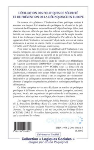 4eme L'évaluation des politiques de sécurité et de prévention de la délinquance en Europe