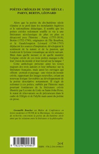 4eme Poètes créoles du XVIIIème siècle :