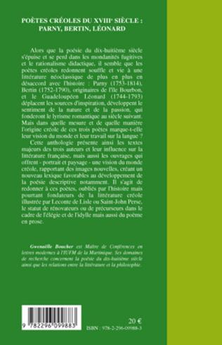 4eme Poètes créoles du XVIII° siècle :