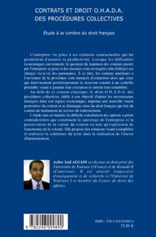 4eme Contrats et droit O.H.A.D.A. des procédures collectives