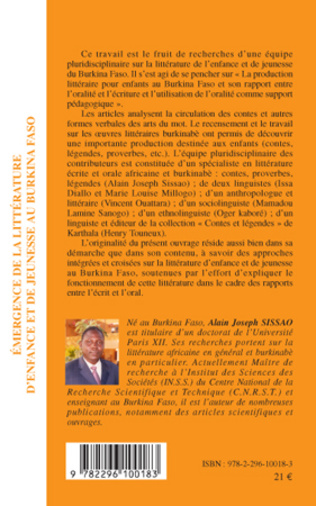 4eme Emergence de la littérature d'enfance et de jeunesse au Burkina Faso