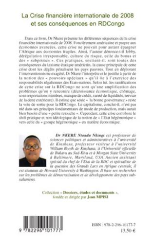4eme La Crise financière internationale de 2008 et ses conséquences en RDCongo