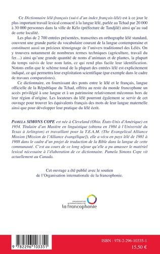 4eme Dictionnaire lélé-français suivi d'un index français-lélé