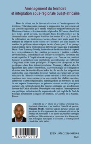 4eme Aménagement du territoire et intégration sous-régionale ouest-africaine