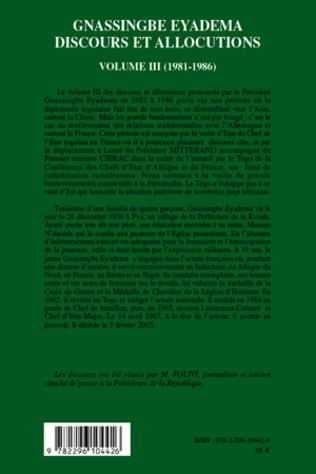 4eme Gnassingbé Eyadema (Volume III)