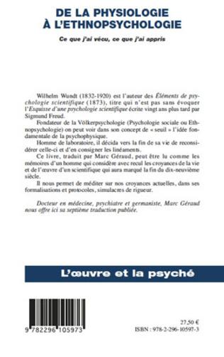 4eme De la physiologie à l'ethnopsychologie
