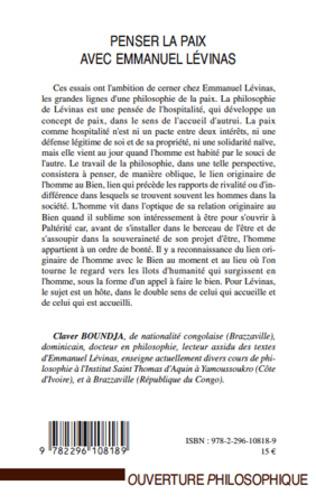 4eme Penser la paix avec Emmanuel Lévinas