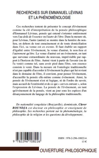 4eme Recherches sur Emmanuel Lévinas et la phénoménologie