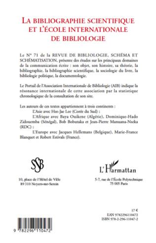 4eme ANALYSE SCIENTOMÉTRIQUE DE LA REVUE BIBLIOLOGIE, SCHÉMA ET SCHÉMATISATION (SSB