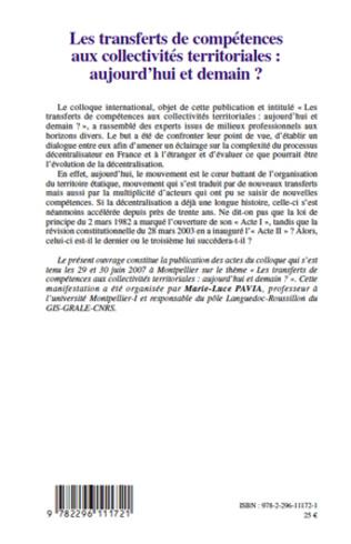 4eme Les transferts de compétences aux collectivités territoriales : aujourd'hui et demain ?