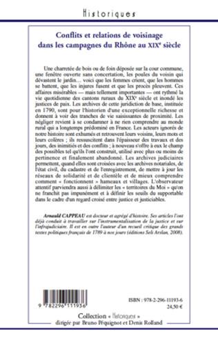 4eme Conflits et relations de voisinage dans les campagnes du Rhône au XIXe siècle