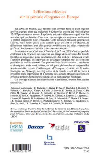 4eme Réflexions éthiques sur la pénurie d'organes en Europe