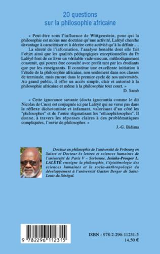 4eme 20 questions sur la philosophie africaine