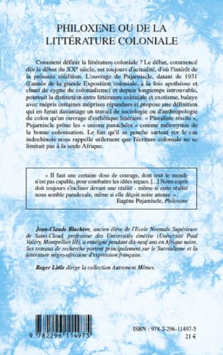 4eme Philoxène ou de la littérature coloniale