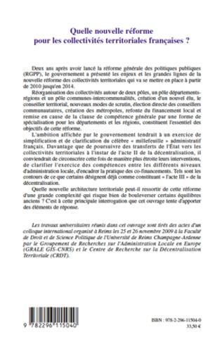 4eme Quelle nouvelle réforme pour les collectivités territoriales françaises ?
