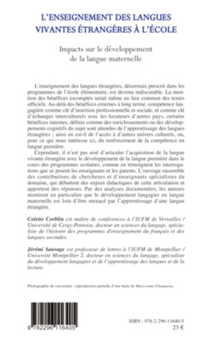 4eme DEVELOPPEMENTS DES LANGUES, IMPACTS RECIPROQUES ET SENSIBILISATION PRECOCE A UNE AUTRE LANGUE