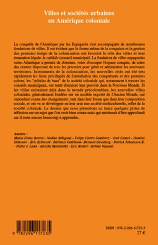 4eme Villes et sociétés urbaines en Amérique coloniale