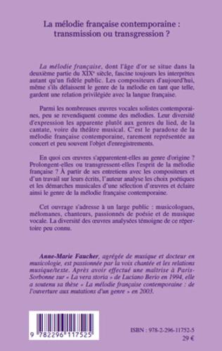 4eme La mélodie française contemporaine : transmission ou transgression ?