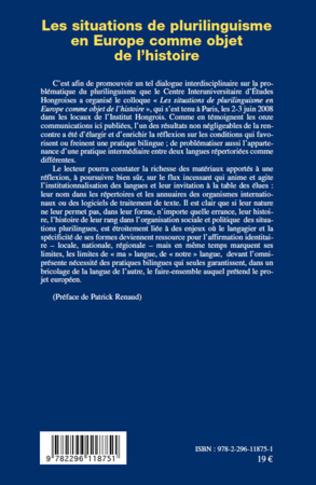 4eme Les situations de plurilinguisme en Europe comme objet de l'histoire