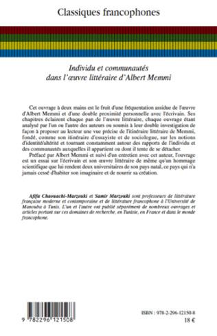 4eme Individu et communautés dans l'oeuvre littéraire d'Albert Memmi
