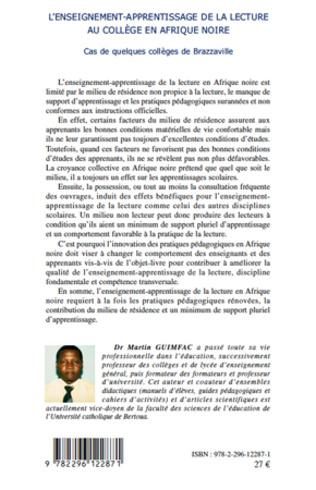 4eme L'enseignement-apprentissage de la lecture au collège en Afrique noire