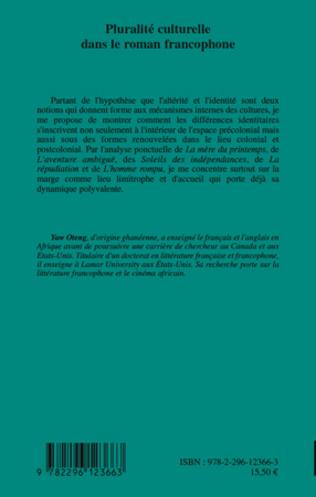 4eme Pluralité culturelle dans le roman francophone