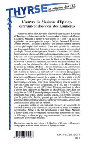 4eme L'oeuvre de Madame d'Epinay,