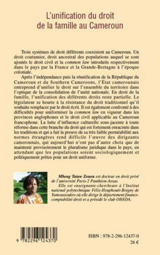 4eme L'unification du droit de la famille au Cameroun