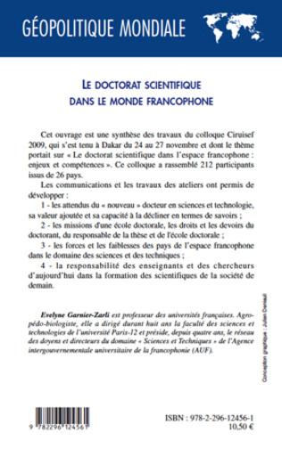 4eme Le doctorat scientifique dans le monde francophone