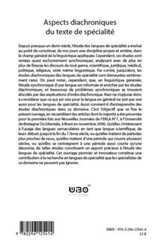 4eme Aspects diachroniques du texte de spécialité
