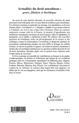 4eme Actualités du droit musulman : genre, filiation et bioéthique