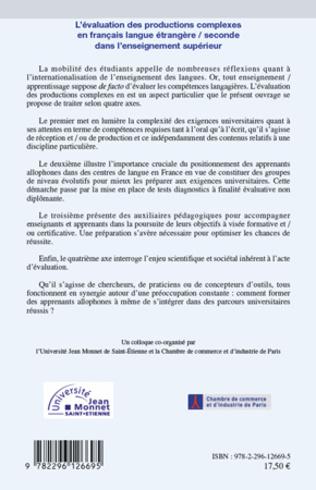 4eme L'évaluation des productions complexes en français langue étrangère/seconde dans l'enseignement supérieur