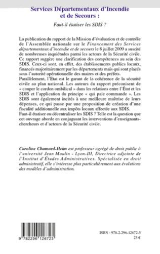4eme Services Départementaux d'Incendie et de Secours : faut-il étatiser les SDIS ?