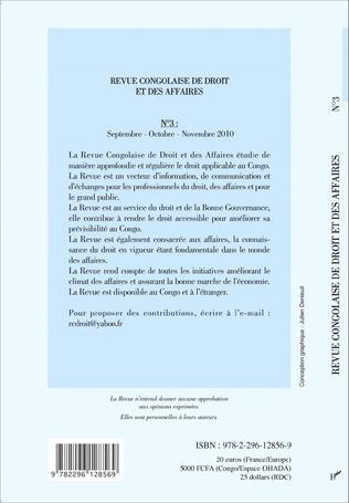 4eme Revue congolaise de droit et des affaires N° 3