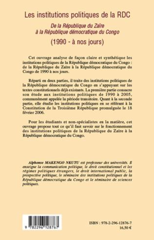 4eme Les institutions politiques de la RDC
