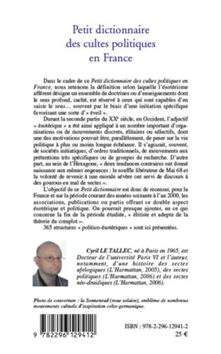 4eme Petit dictionnaire des cultes politiques en France 1960-2000