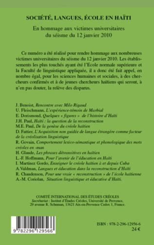 4eme Société, langues, école en Haïti